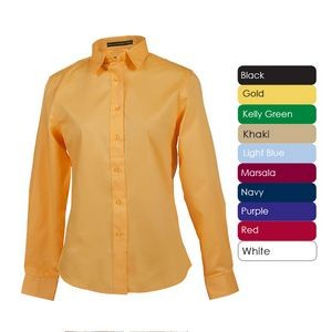 Ladies 100% Cotton Premium Twill Long Sleeve Shirt